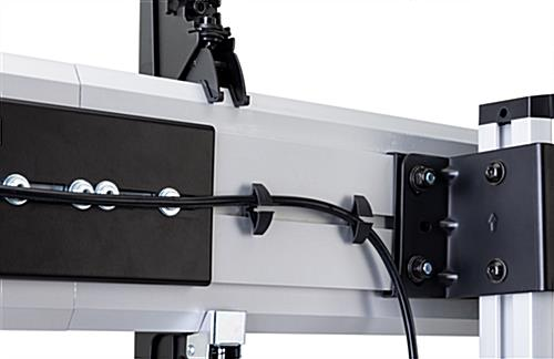 mobile video wall with cable management clips