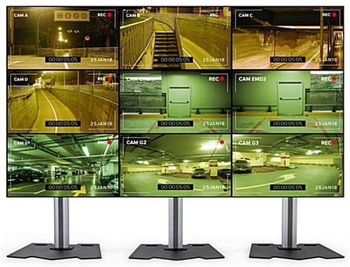 3x3 video wall mount stand secures (9) monitors
