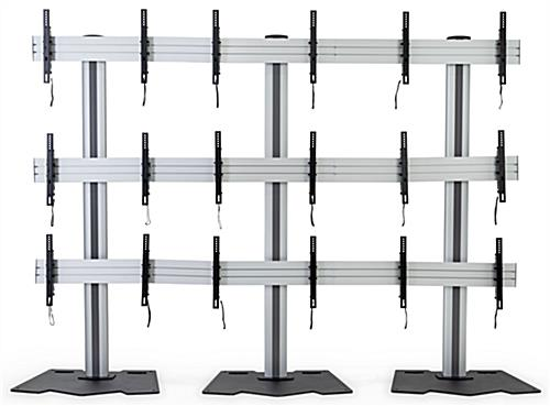 3x3 video wall mount stand with reinforced pedestal metal base with contemporary design