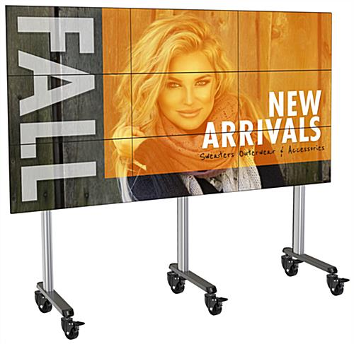 118.4 inch x 39.3 inch 3x3 portable multi-monitor video wall with 4 plastic wheels