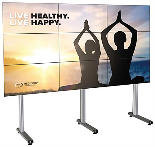 118.4 inch x 39.3 inch 3x3 portable multi-monitor video wall with leveling feet