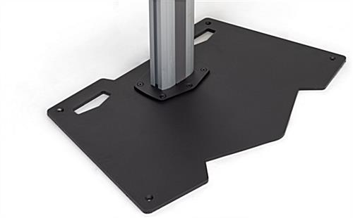 Silver and black vertical stand for 2 tvs with heavy-duty steel base
