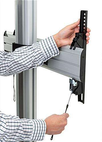 Dual monitor floor stand with secure lock brackets
