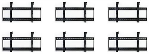 Tilting video wall display 3x2 mounts