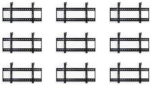 Steel 3x3 flat panel video wall mounting system