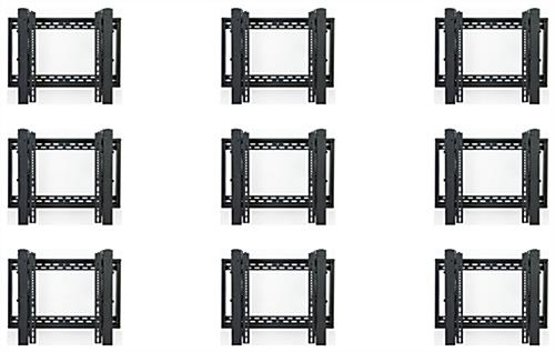 3x3 LCD video wall TV mounting system with micro-adjust