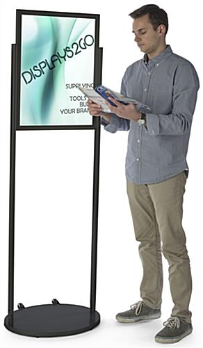 Black 18 x 24 Mobile Poster Stand, Aluminum Construction