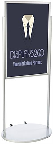 Silver 24 x 36 Poster Stand with Wheels, Double-Sided
