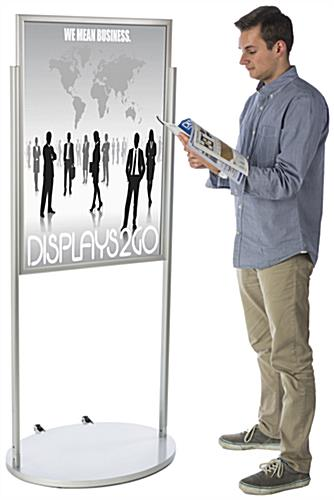 Silver 24 x 36 Poster Stand with Wheels, Rolling Base