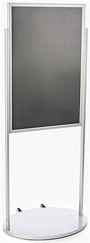 Silver 24 x 36 Poster Stand with Wheels, Powder Coated