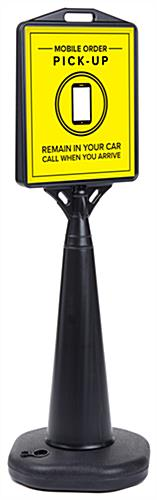 Double-sided black mobile pickup traffic sign