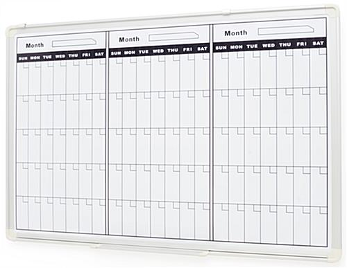 ... Dry Erase Board for Wall, 3-Month Calendar Template, Magnetic - Silver