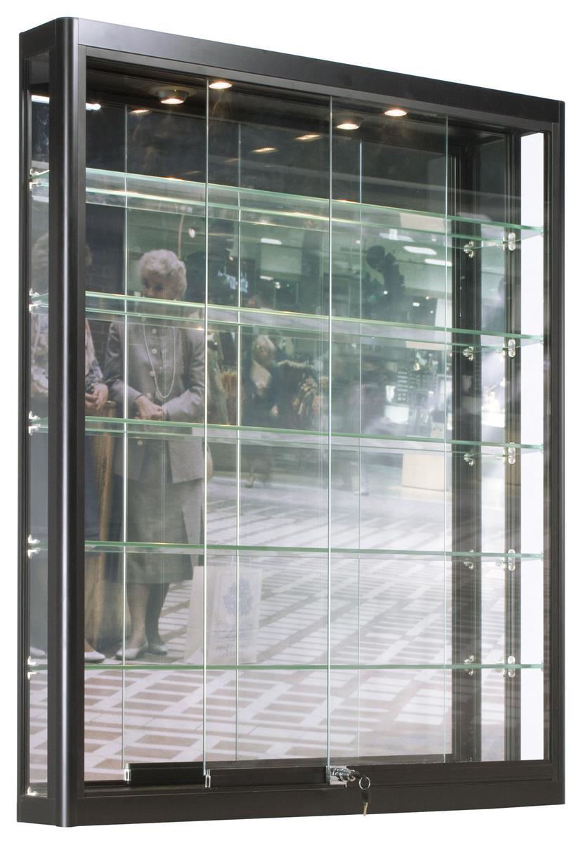 3x4 LED Wall Mounted Display Case w/Slider Doors, Mirror Back, Locking -  Black