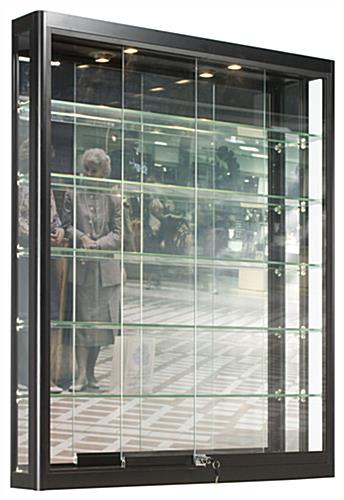 Black Wall Case Glass Sliding Doors With 5 Shelves
