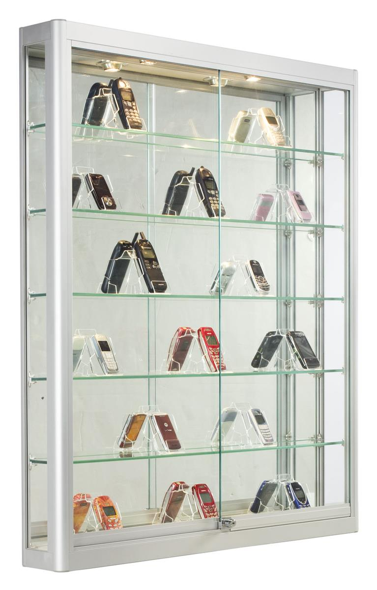 Silver Wall Showcase Wall Mounting Retail Store Fixture