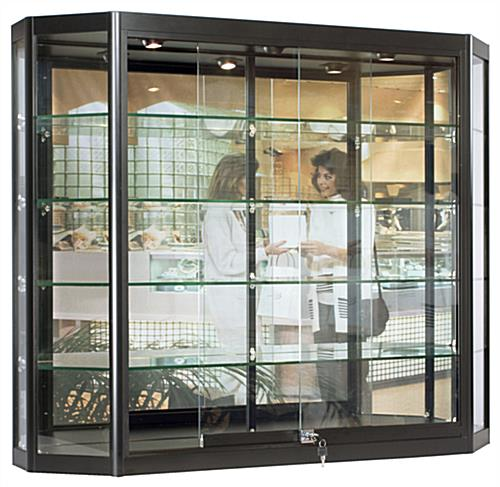 Wall Mounted LED Display Cabinet with 3 Overhead Lights