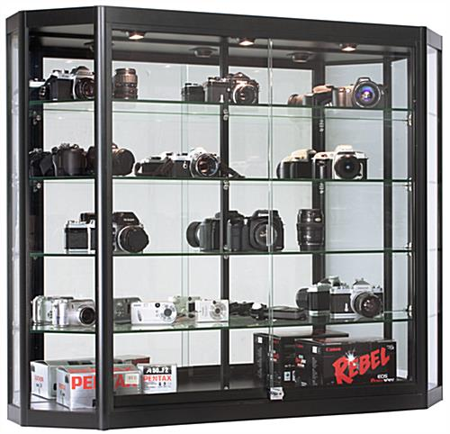 Black Wall Mounted LED Display Cabinet