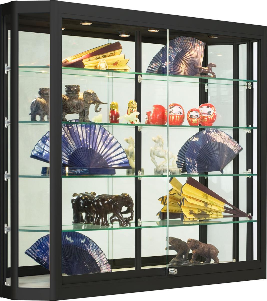 Wholesale Glass Display Case Black W Sliding Doors