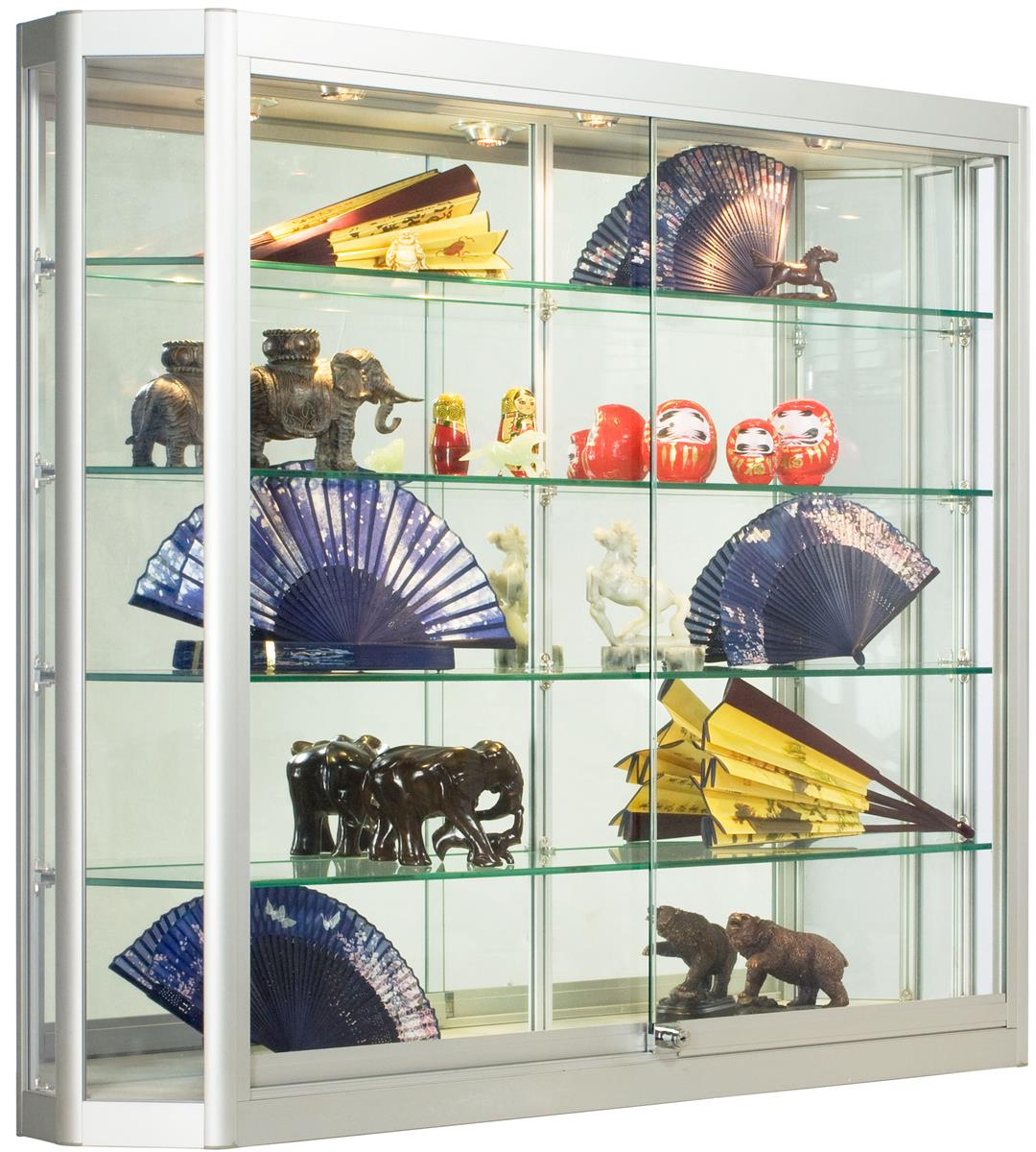 Deep Wall Cabinet Display With Angled Front Design
