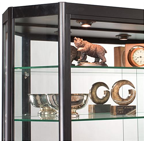 Wall Mounted LED Display Case with Tempered Glass Shelves