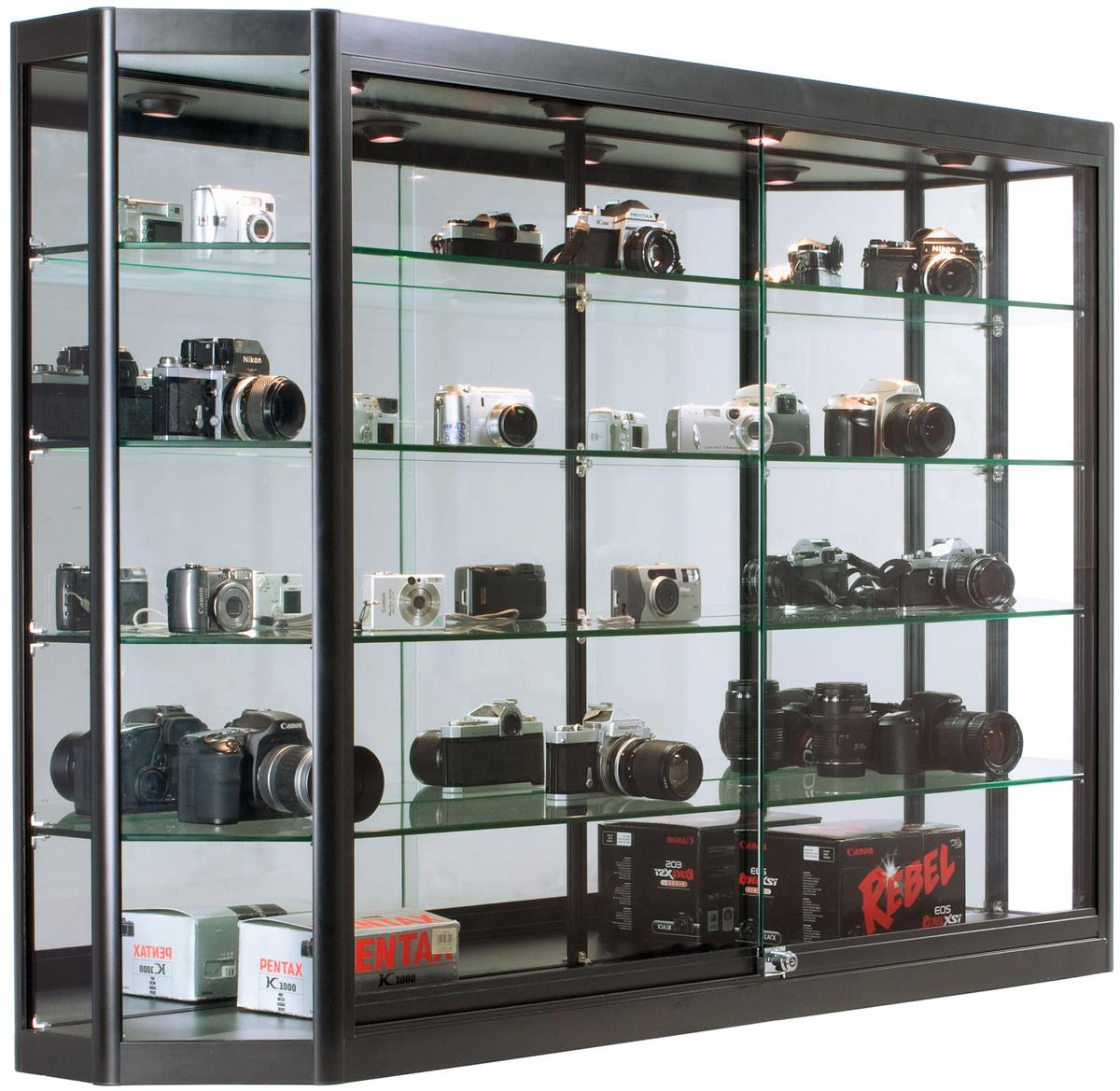 Illuminated Wall Display Cabinet 10 Deep Shelves