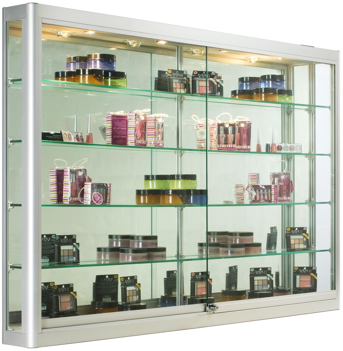 silver wall mounting cabinet 5 foot wide glass display. Black Bedroom Furniture Sets. Home Design Ideas