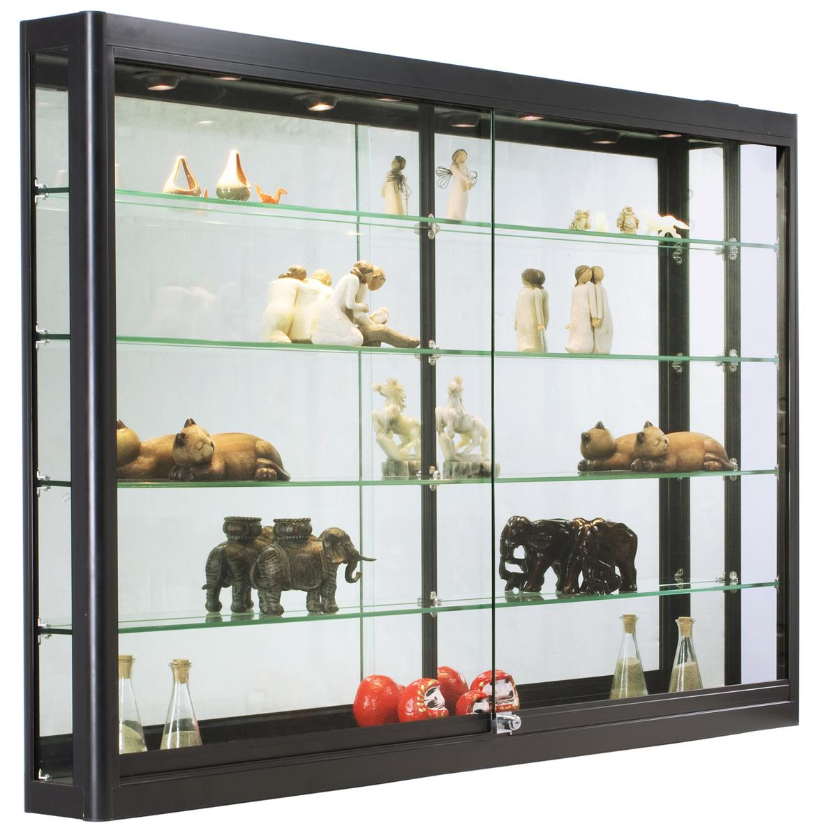 LED Wall Showcase Cabinet Tempered Glass Shelves on Wall Mounted Storage Furniture