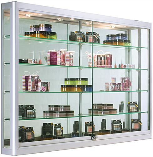 Wall Mounted Display Lights : Wall Mounted Display Cabinet with LED Lights 5 Feet Wide