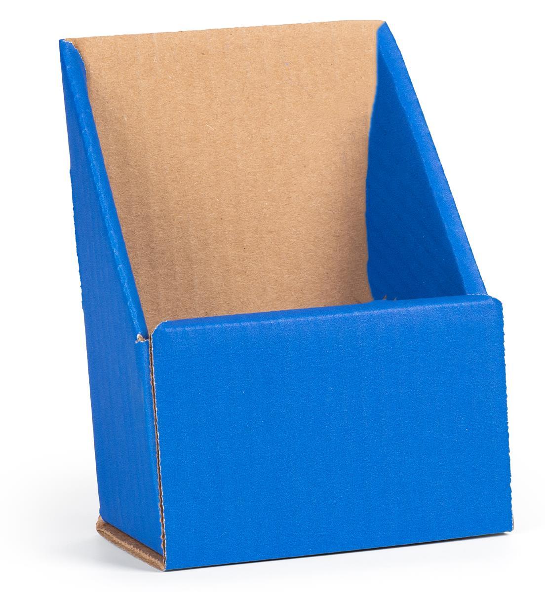 blue tri fold cardboard brochure holder