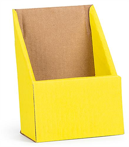 Yellow cardboard brochure holders