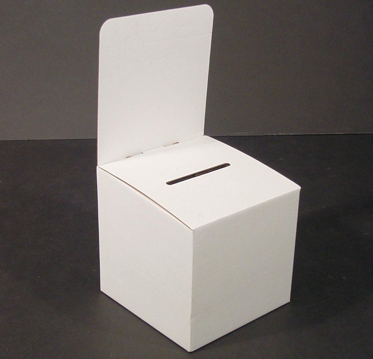Displays2go Cardboard Ballot Box with Header - White