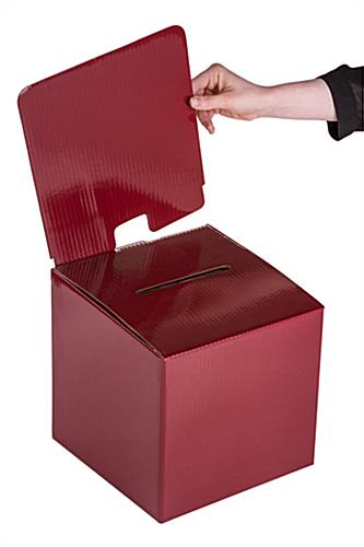 Red Cardboard Entry Box with Removable Header