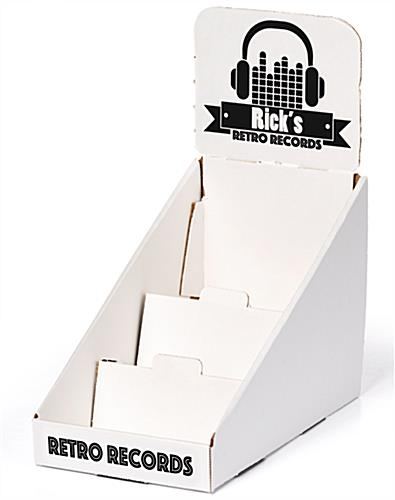 White custom 3-tier cardboard counter display stand