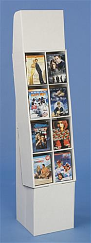 Corrugated POP Display With 8 Pockets For DVDs Or Books