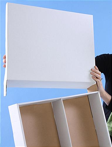 Cardboard Magazine Holder: White Corrugated Cardboard