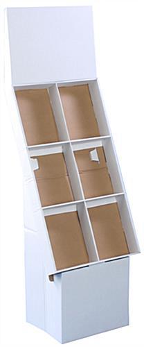 White Cardboard Magazine Holder Corrugated Pop Up Stand