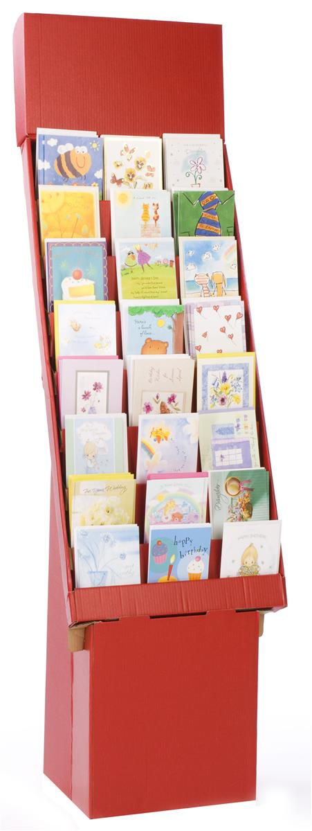 red corrugated greeting card holder 8 tiered cardboard
