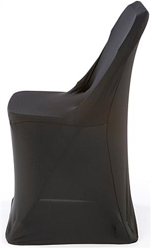 White Plastic Chair with Black Stretch Cover, Machine Washable