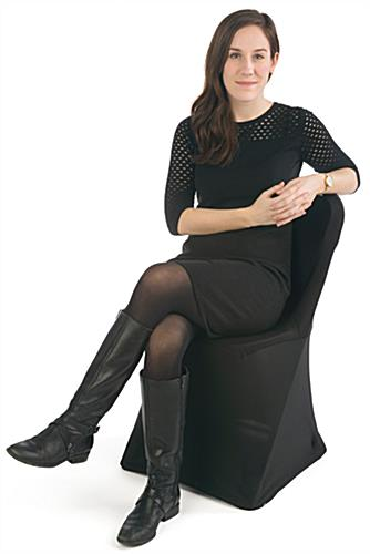 White Plastic Chair with Black Stretch Cover, Attaches to Legs