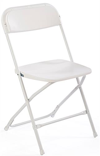 Lightweight White Plastic Chair with Black Stretch Cover
