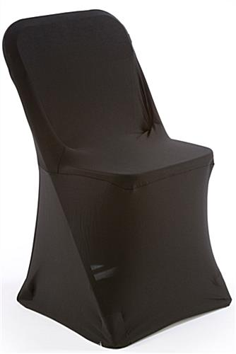 White Plastic Chair with Black Stretch Cover Made of Spandex