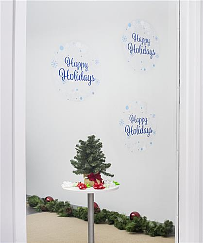 "12"" x 12"" happy holidays window cling for smooth surfaces"
