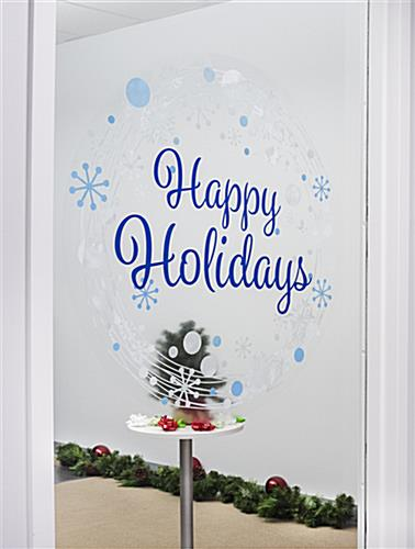 "24"" x 24"" happy holidays window cling with pre-printed message"