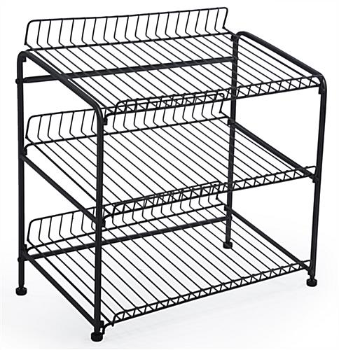 Wire Rack For Countertop Use With 3 Open Shelves, Black