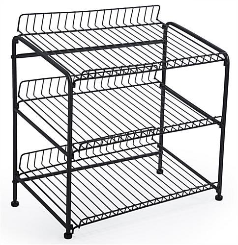Wire Countertop Display Rack 3 Open Shelves For