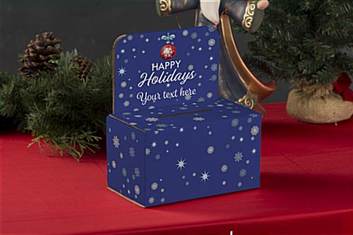 Cardboard holiday donation box with personalized messaging