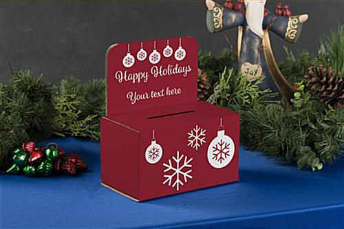 Holiday raffle box with pre-printed message