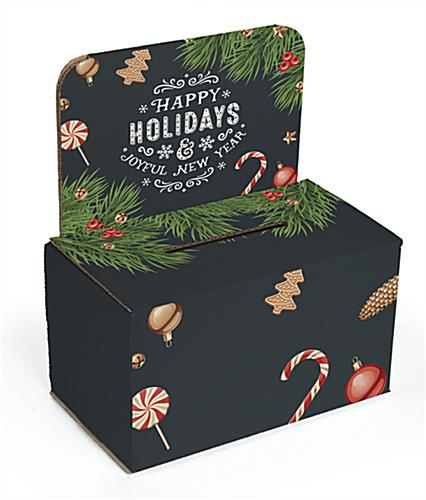 "Cardboard ""Happy Holidays"" ballot box with chalkboard theme"