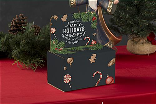 "Cardboard ""Happy Holidays"" ballot box with trendy design"