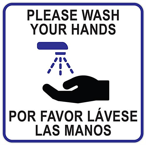 12 x 12 square bilingual handwashing sign cling
